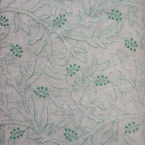 Light Sea Green Embroidered Kota Doriya Fabric
