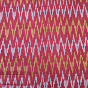 Red & Orange Mercerised Ikat Cotton Handloom Fabric