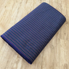 Load image into Gallery viewer, Blue & Purple Stripes Pattern Woven Cotts Wool Fabric