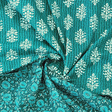 Load image into Gallery viewer, Sea Green Cotton Kantha Screen Print Top & Bottom-2.5 mtr each