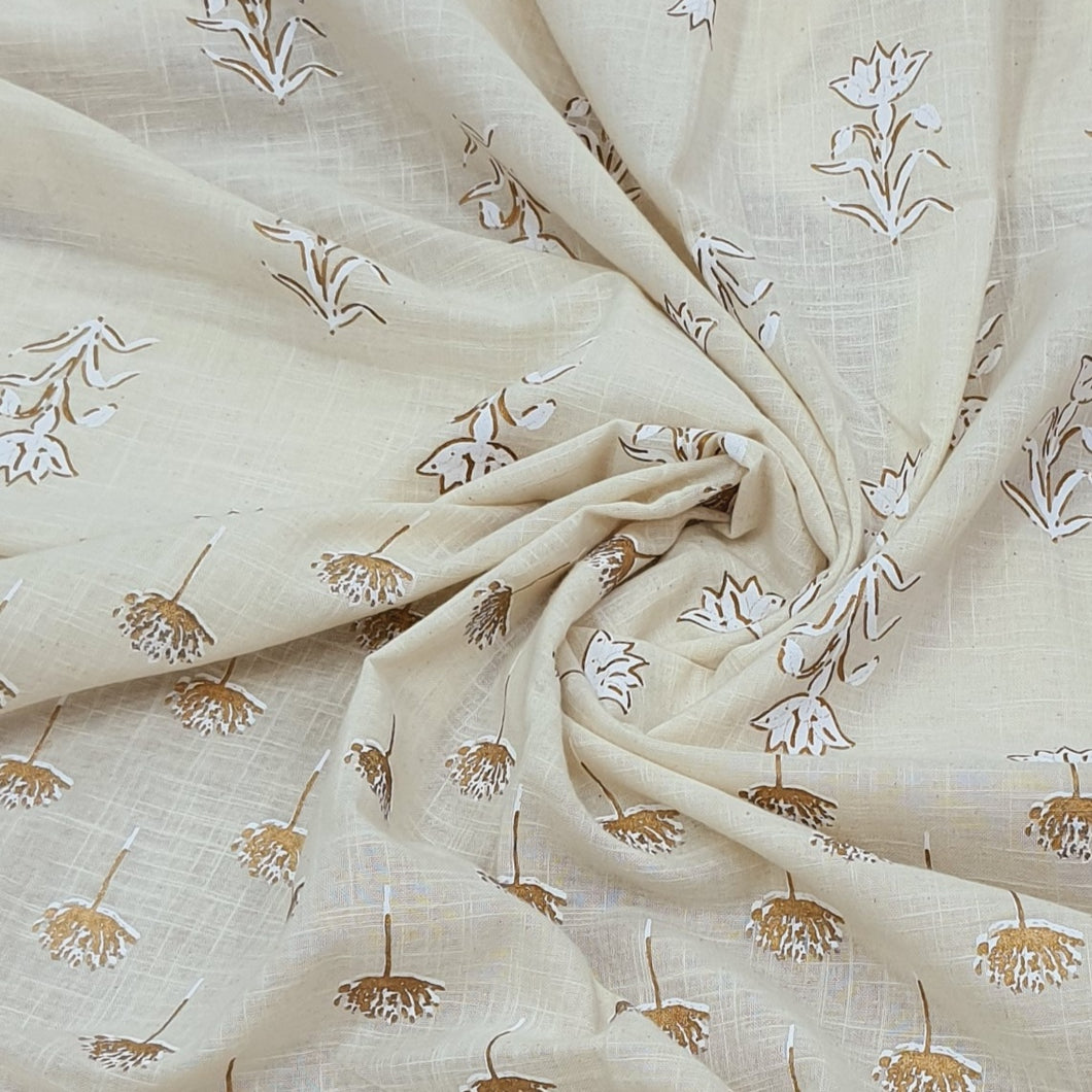 Cream Cotton Flex With Khaddi Prints Abstract Pattern Top & Bottom 2.5 mtr each