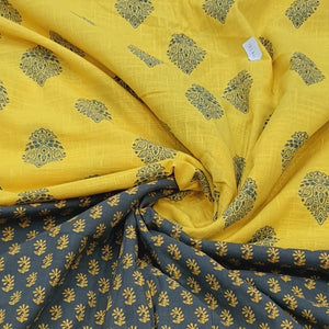 Mehandi Green & Yellow Flex With Khaddi Prints Abstract Pattern Top & Bottom 2.5 mtr each