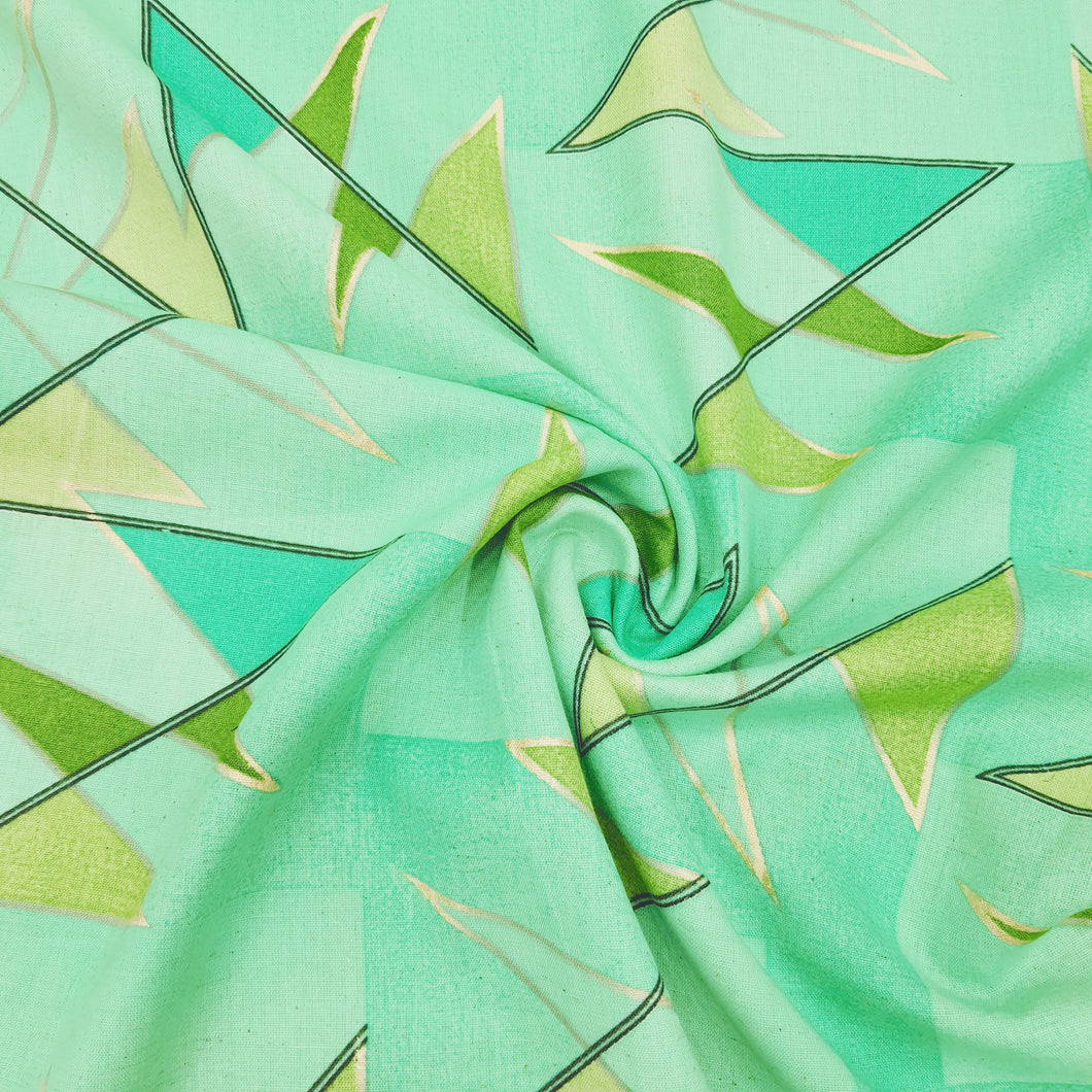 Pista Green Cotton Flex With Khaddi Prints Abstract Patterns