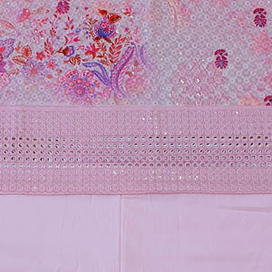 Pink Base Embroidered With Digital Printing  Cotton Chikankari Style Top & Bottom-2.5 mtr each