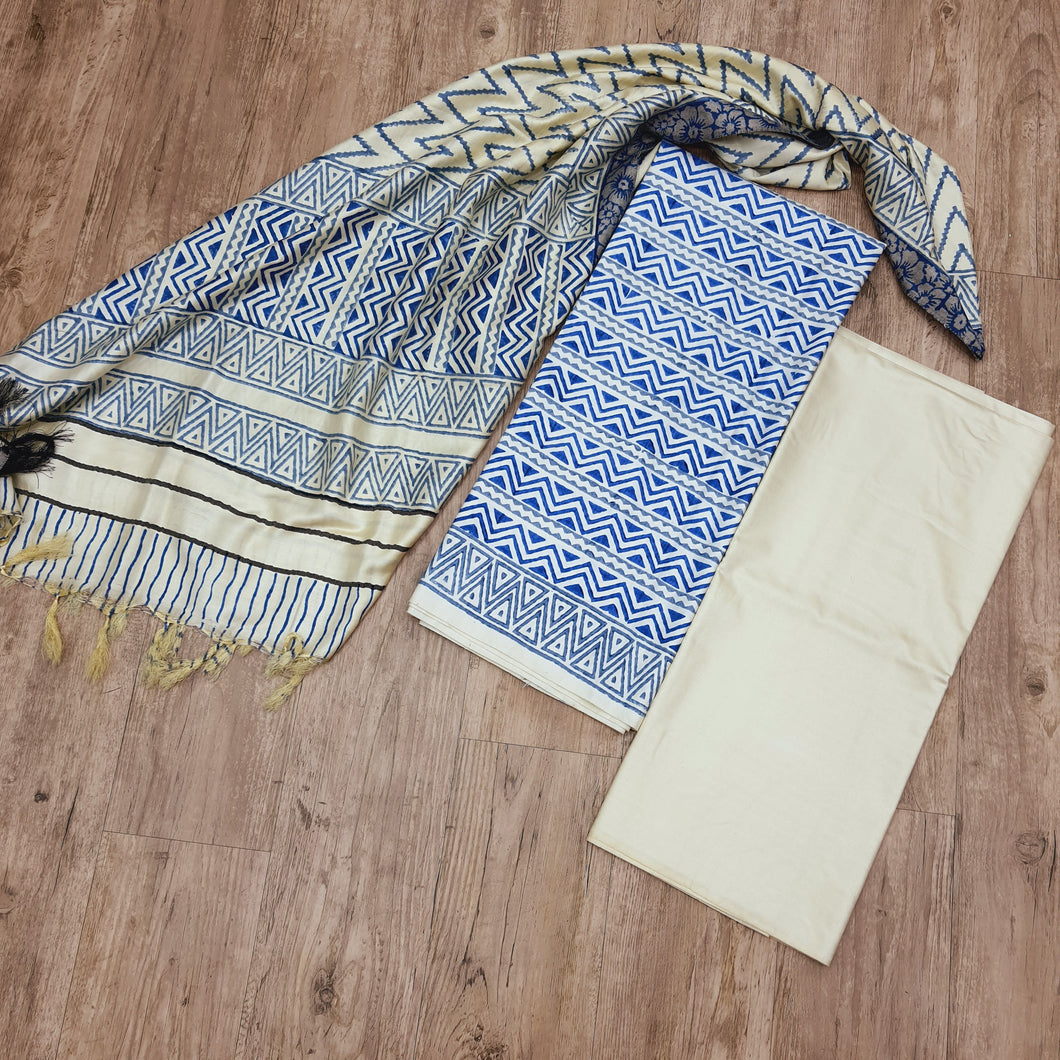 Beige Base With Ink Blue & Grey Handblock Print Cotton Viscos Tusser With Dupatta Suit Set