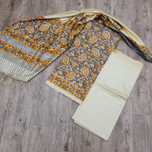 Load image into Gallery viewer, Beige Base Mustard Yellow & Grey Handblock Print Cotton Tusser With Dupatta Suit Set