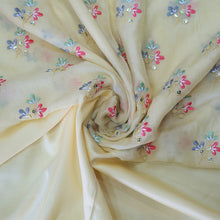 Load image into Gallery viewer, Lemon Yellow & Multi Colors  Embroidered  Cotton Muslin Top & Bottom-2.5 mtr each