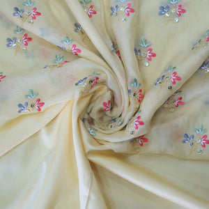 Lemon Yellow & Multi Colors  Embroidered  Cotton Muslin Top & Bottom-2.5 mtr each