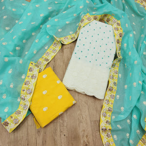 Sea Green & Yellow  Cotton Unstitched With Dupatta Suite Sets