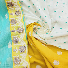 Load image into Gallery viewer, Sea Green & Yellow  Cotton Unstitched With Dupatta Suite Sets