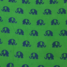 Load image into Gallery viewer, Green  & Blue Handblock Print On Cotton Handloom Fabric