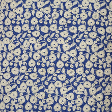 Load image into Gallery viewer, Ink Blue Base Cotton Fabric with offwhite  Color Thread  Embroidered
