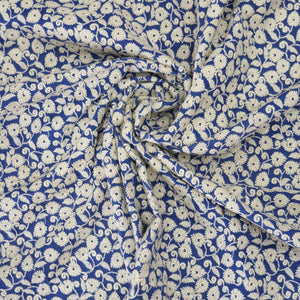 Ink Blue Base Cotton Fabric with offwhite  Color Thread  Embroidered