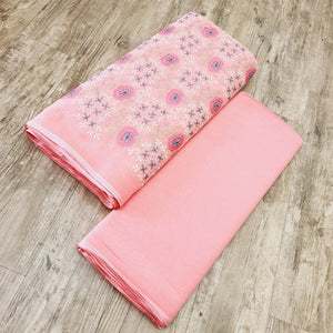 Peach Base Multi color Embroidered 2×2 Pure Cotton Rubia Embroidered Top & Bottom-2.5 mtr each