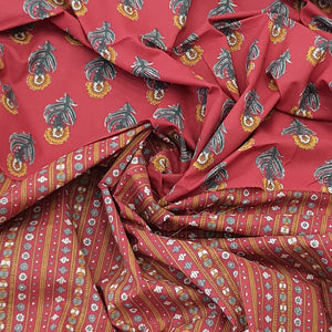 Red Base, Mustard & Green Floral Cotton Hand Block Printed Top & Bottom-2.5 mtr each