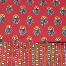 Load image into Gallery viewer, Red Base, Mustard & Green Floral Cotton Hand Block Printed Top & Bottom-2.5 mtr each