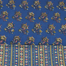 Load image into Gallery viewer, Navy Blue Base & Mustard Floral Cotton Hand Block Printed Top & Bottom-2.5 mtr each