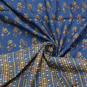 Navy Blue Base & Mustard Floral Cotton Hand Block Printed Top & Bottom-2.5 mtr each