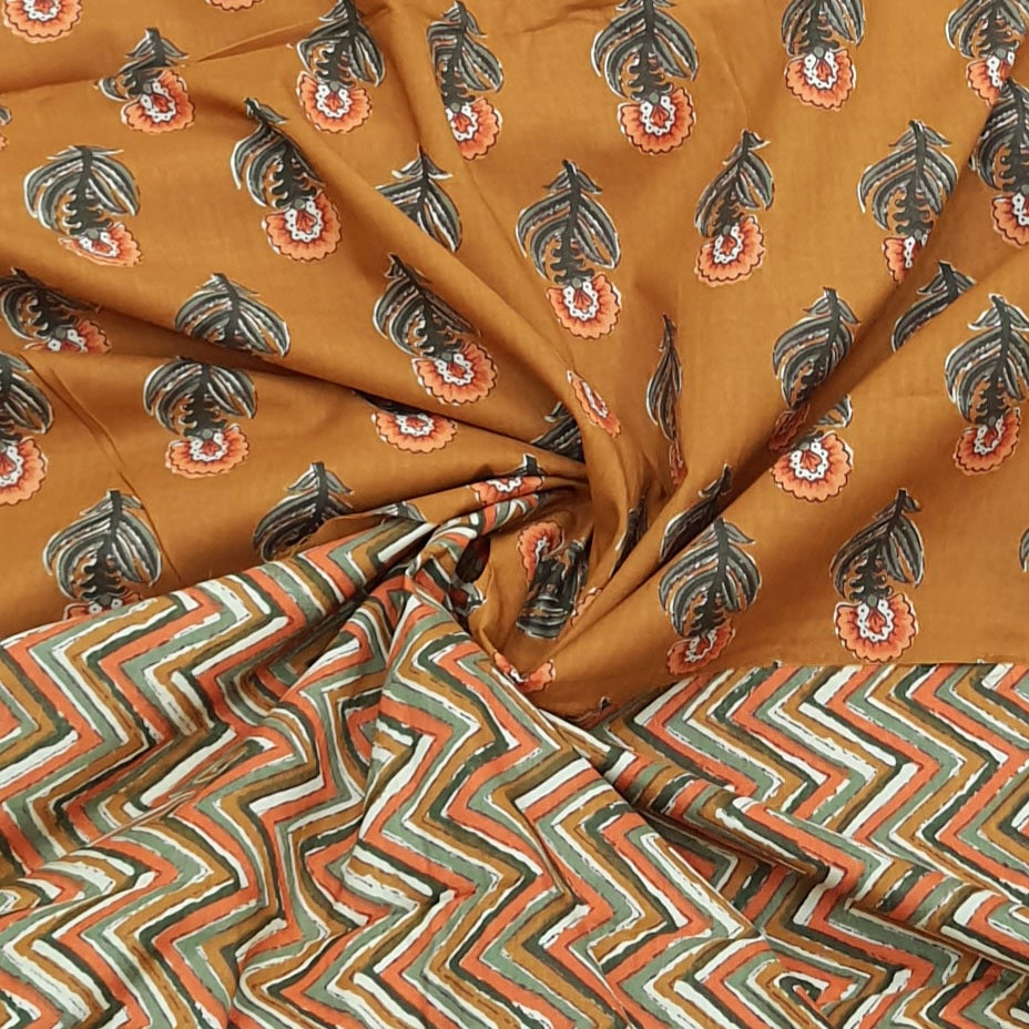 Mustard Yellow Floral Cotton Hand Block Printed Top & Bottom-2.5 mtr each