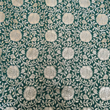 Load image into Gallery viewer, Dark Green Base With Gold Zari Kinkhwab Brocade Jaal Pattern On Pure Silk Fabric