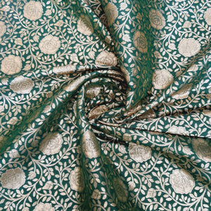 Dark Green Base With Gold Zari Kinkhwab Brocade Jaal Pattern On Pure Silk Fabric
