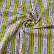 Load image into Gallery viewer, Bright Pista Green Base Pink Stripes Pure Organic Cotton Handcrafted Block Printing.
