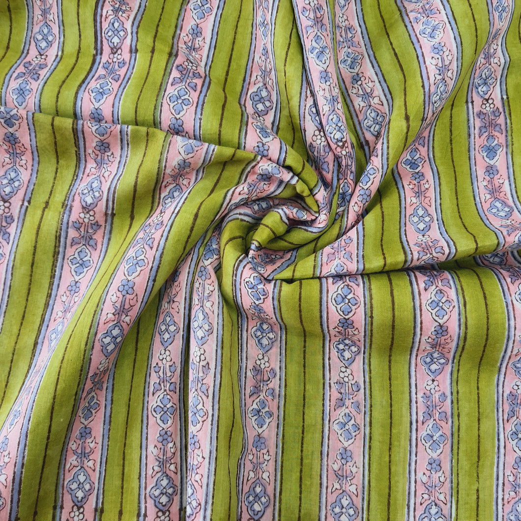 Bright Pista Green Base Pink Stripes Pure Organic Cotton Handcrafted Block Printing.