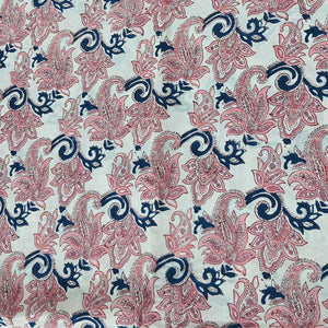 Cream Base Blue & Peach Floral Pure Organic Cotton Handcrafted Block Printing.