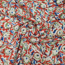 Load image into Gallery viewer, Red Base Multicolor Floral Pure Cotton Handcrafted Kalamkari Block Printing.