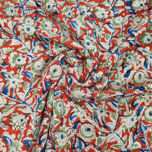 Red Base Multicolor Floral Pure Cotton Handcrafted Kalamkari Block Printing.