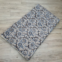 Load image into Gallery viewer, Off White Base Black & Blue Floral Pure Cotton Handcrafted Kalamkari Block Printing.
