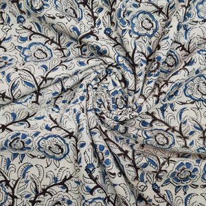 Off White Base Black & Blue Floral Pure Cotton Handcrafted Kalamkari Block Printing.
