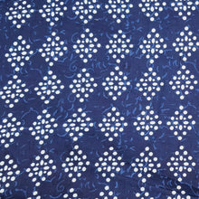 Load image into Gallery viewer, Navy Blue Abstract white Pattern on Cotton Hand Block Print.