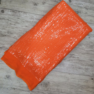 Orange Base Water Sequence On Viscose Georgette Big Width Embroidered Fabric
