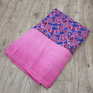 Pink Base Blue Floral cotton Block Print With Cutwork Boder