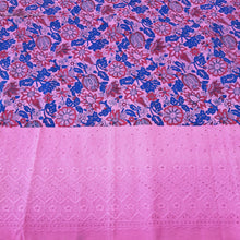Load image into Gallery viewer, Pink Base Blue Floral cotton Block Print With Cutwork Boder
