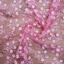 Load image into Gallery viewer, Baby Pink Base with Sequence Thread Embroidered Net Fabric