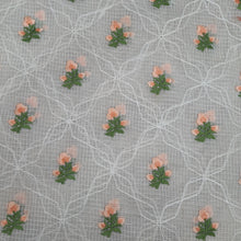 Load image into Gallery viewer, White Base Peach Floral Embroidered Cotton Kota Doria Fabric.