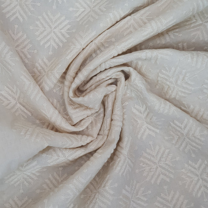 Off White Kora Cotton Floral Motif Chikan Embroidered Fabric