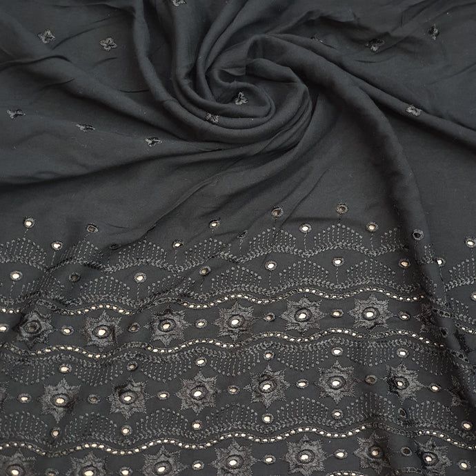 Black Floral Motif On Rayon Cotton Chikan Embroidered Fabric