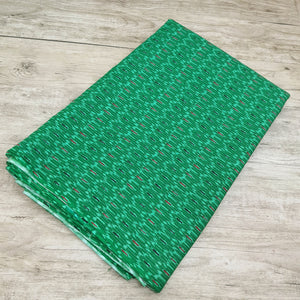 Green Base Cotton Katha Work Block Print Fabric