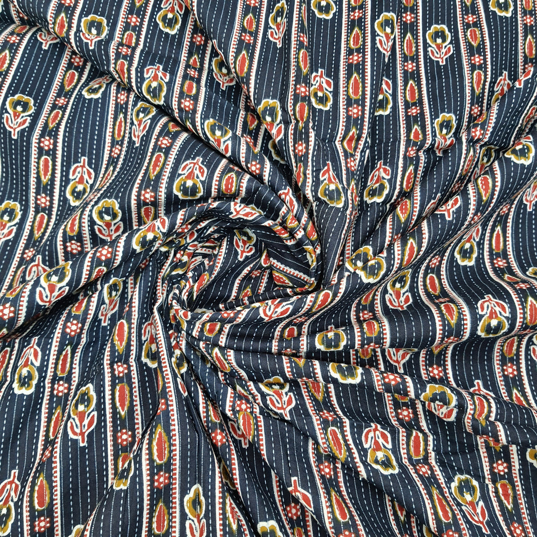 Navy Blue Base Cotton Katha Work Block Print Fabric