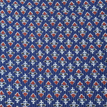 Load image into Gallery viewer, Navy Blue Base Cotton Katha Work Block Print Fabric