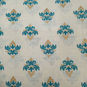 Milky White Base Blue Floral Cotton Flex With Khaddi Prints Abstract Patterns