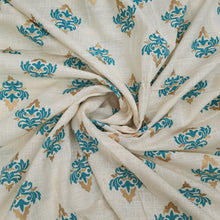 Load image into Gallery viewer, Milky White Base Blue Floral Cotton Flex With Khaddi Prints Abstract Patterns