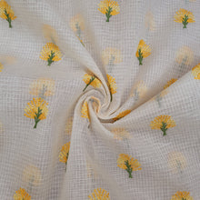 Load image into Gallery viewer, White Base Yellow Floral Embroidered Cotton Kota Doria Fabric.