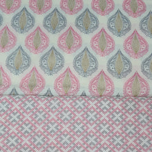 Load image into Gallery viewer, Off White Base Pink & Grey Cotton Hand Block Printed Top & Bottom-2.5 mtr each