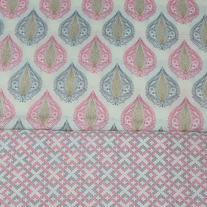 Off White Base Pink & Grey Cotton Hand Block Printed Top & Bottom-2.5 mtr each