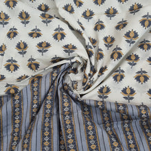 Load image into Gallery viewer, Cream & Grey Cotton Hand Block Printed Top & Bottom-2.5 mtr each