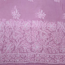 Load image into Gallery viewer, Pink Base White Chikankari Thread Work On Terry Voile.